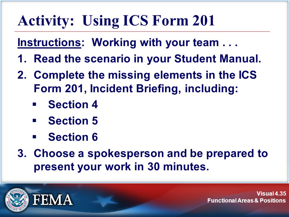 Activity: Using ICS Form 201