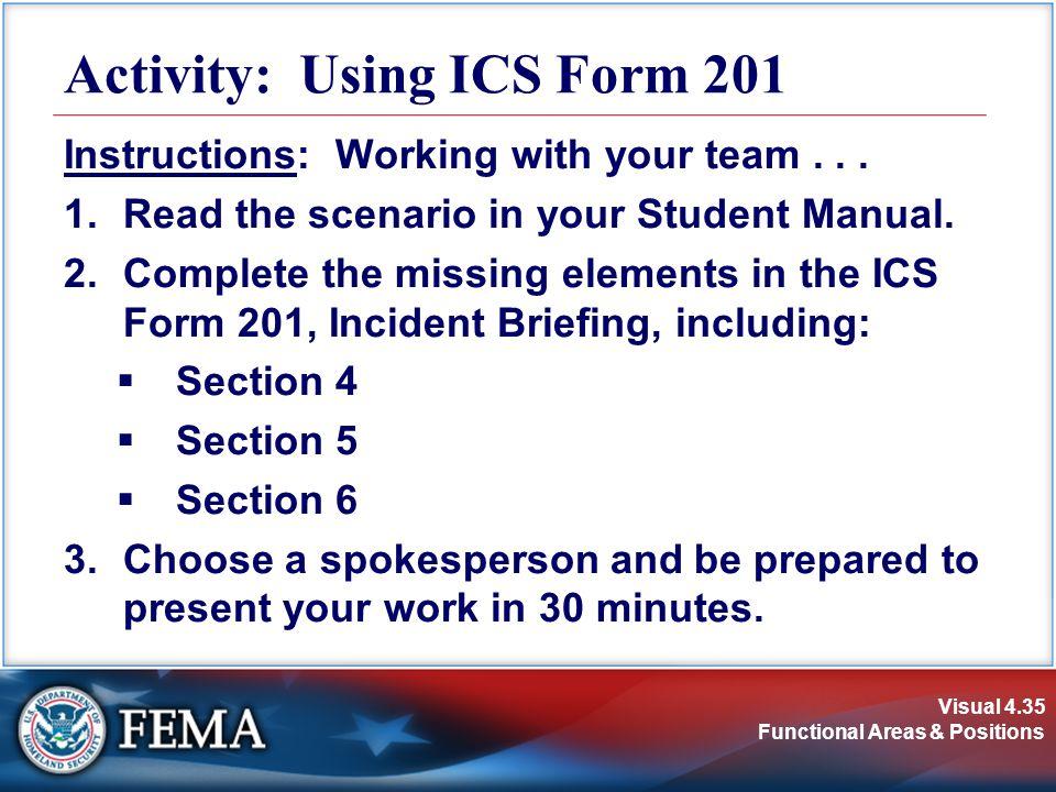 Activity: Using ICS Form 201