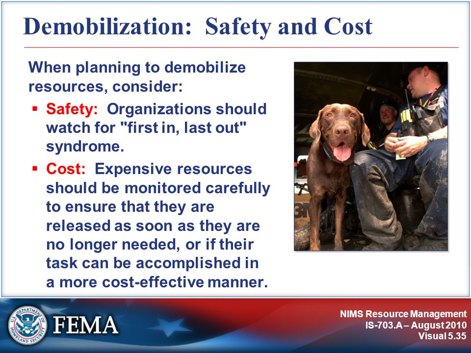 Demobilization: Safety and Cost