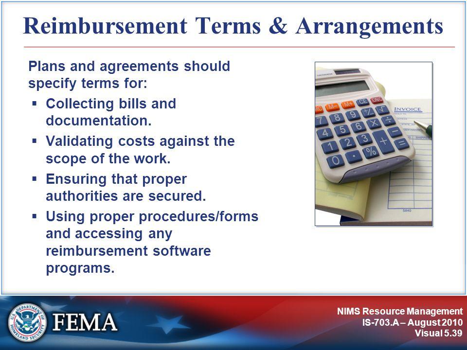 Reimbursement Terms & Arrangements