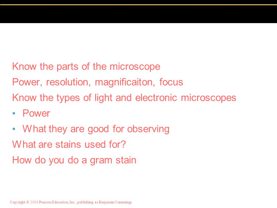 Know the parts of the microscope