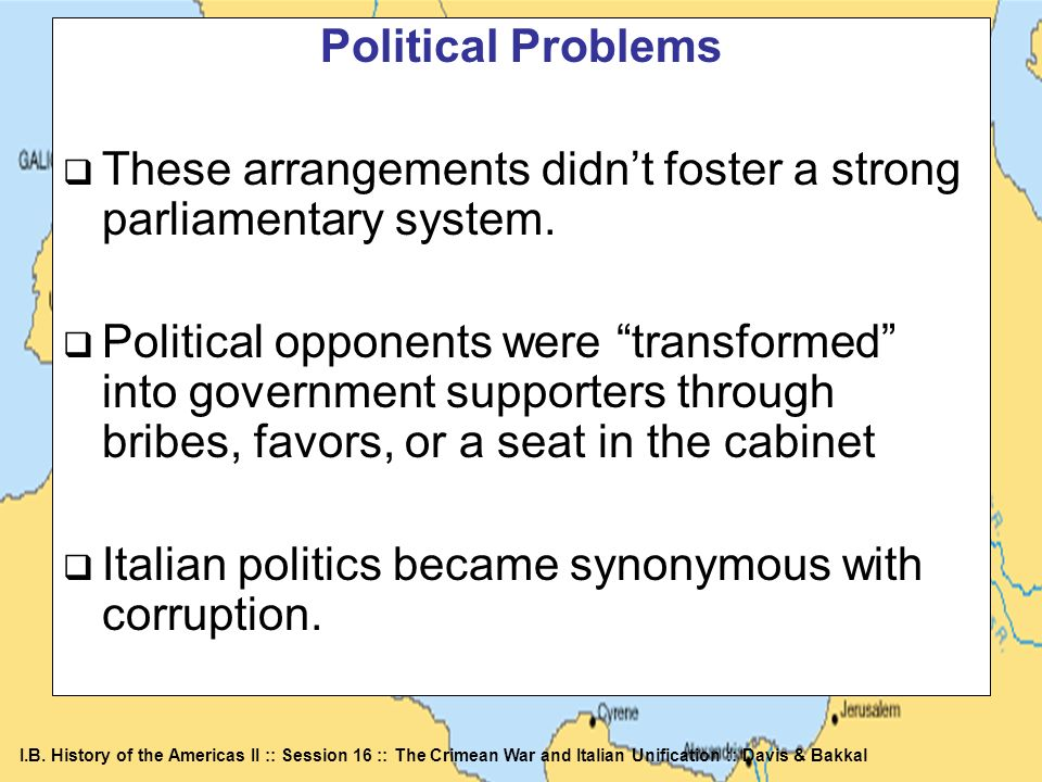 Political ProblemsThese arrangements didn't foster a strong parliamentary system.