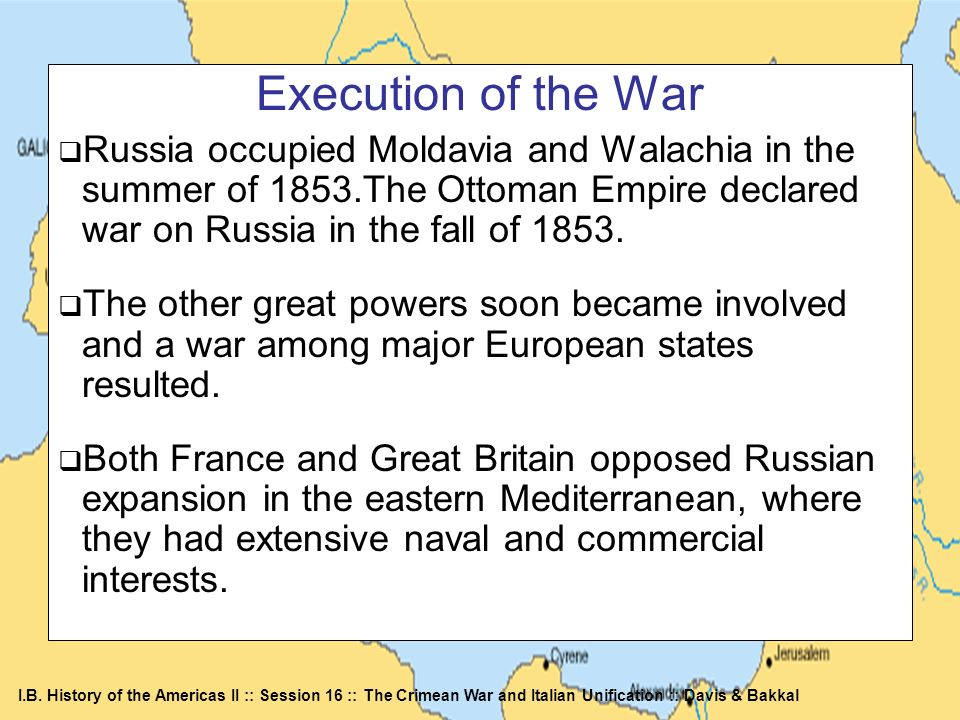 Execution of the WarRussia occupied Moldavia and Walachia in the summer of 1853.The Ottoman Empire declared war on Russia in the fall of 1853.