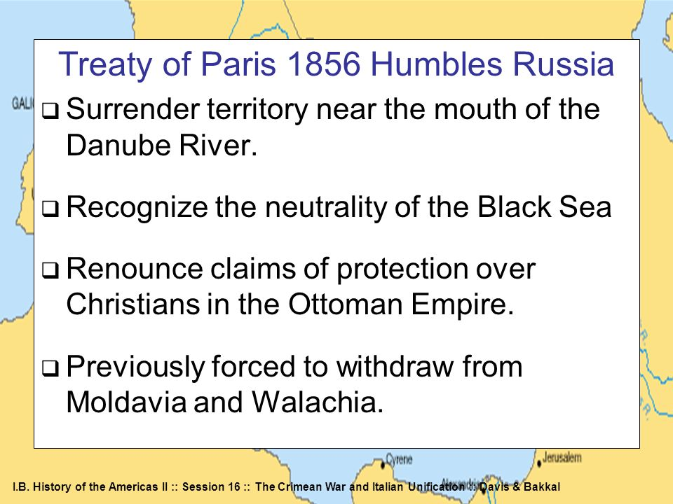 Treaty of Paris 1856 Humbles Russia