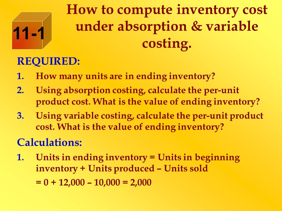 How to compute inventory cost under absorption & variable costing.