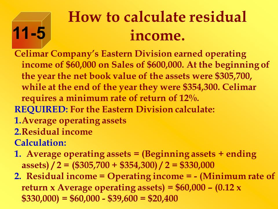 How to calculate residual income.