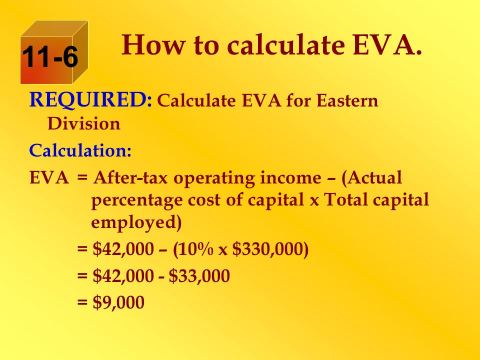 How to calculate EVA. 11-6. REQUIRED: Calculate EVA for Eastern Division. Calculation: