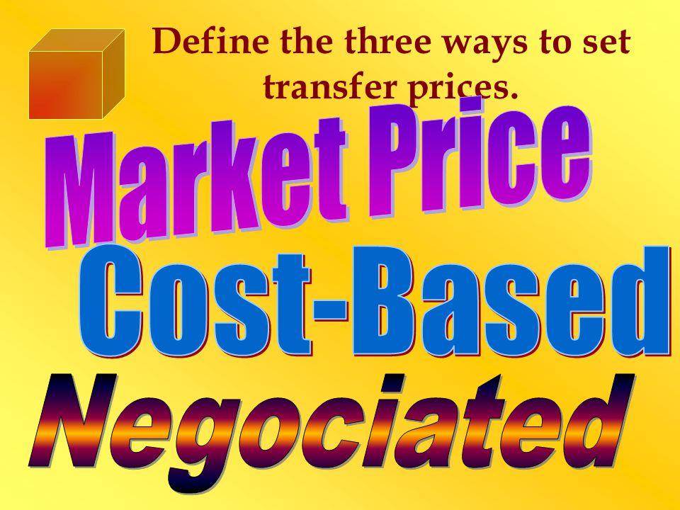 Define the three ways to set transfer prices.