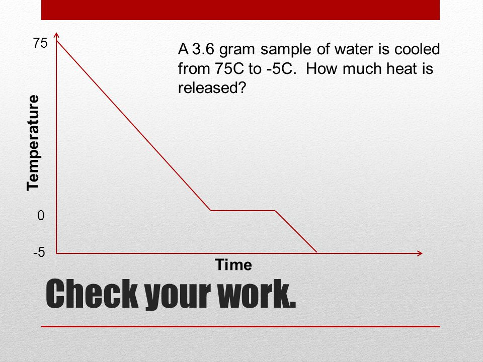 75 A 3.6 gram sample of water is cooled from 75C to -5C. How much heat is released Temperature. Check your work.