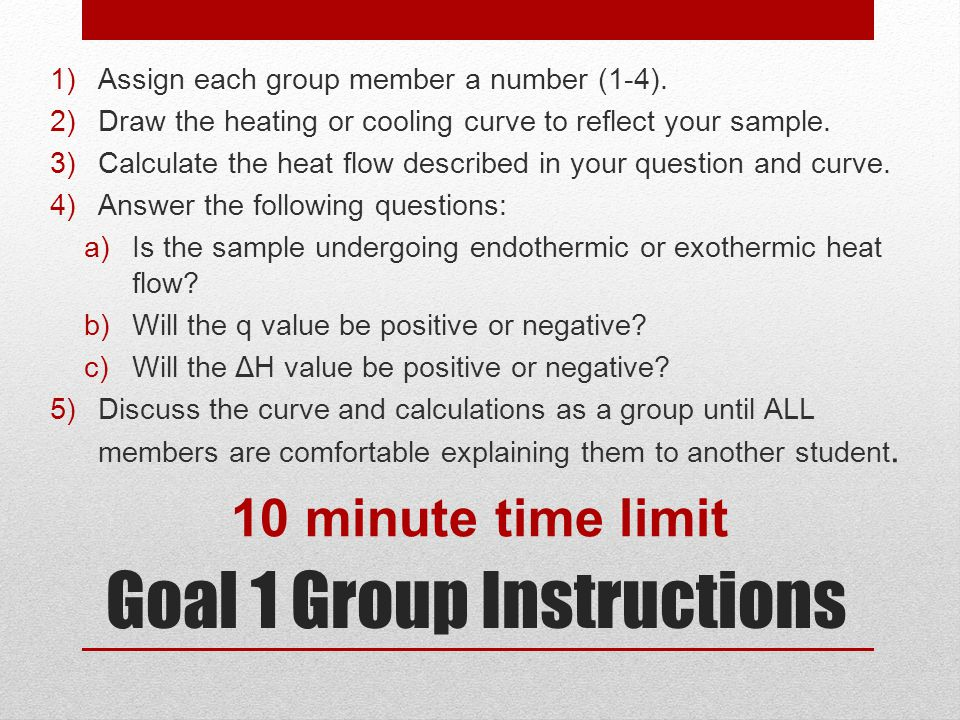 Goal 1 Group Instructions