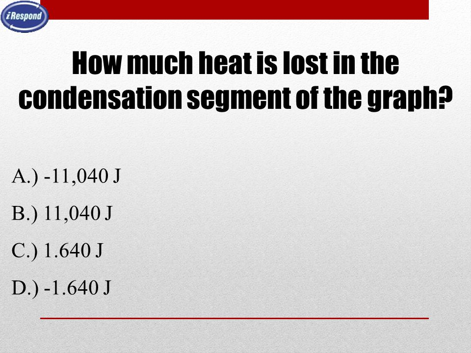 How much heat is lost in the condensation segment of the graph