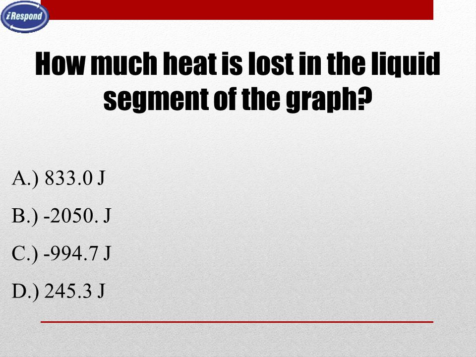 How much heat is lost in the liquid segment of the graph