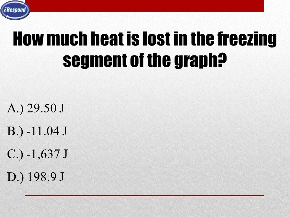How much heat is lost in the freezing segment of the graph
