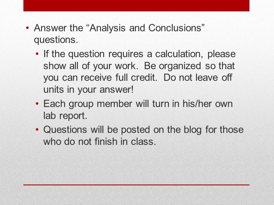 Answer the Analysis and Conclusions questions.