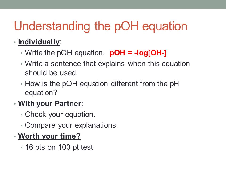 Understanding the pOH equation