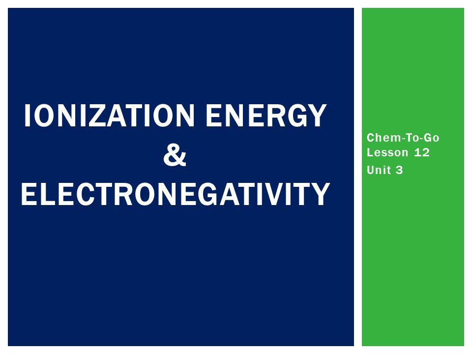Ionization Energy & Electronegativity