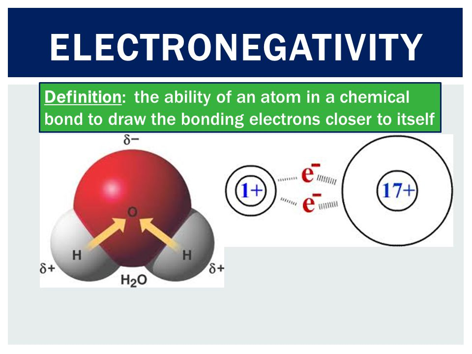 Electronegativity Definition: the ability of an atom in a chemical bond to draw the bonding electrons closer to itself.