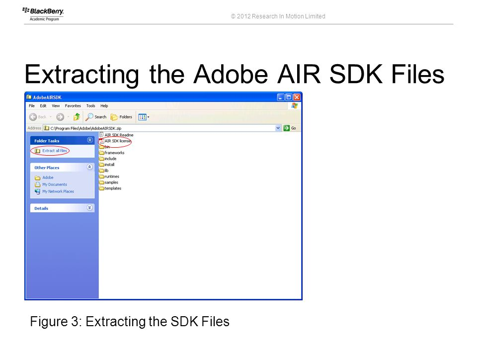 Extracting the Adobe AIR SDK Files