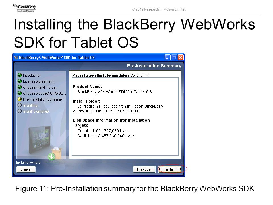 Installing the BlackBerry WebWorks SDK for Tablet OS