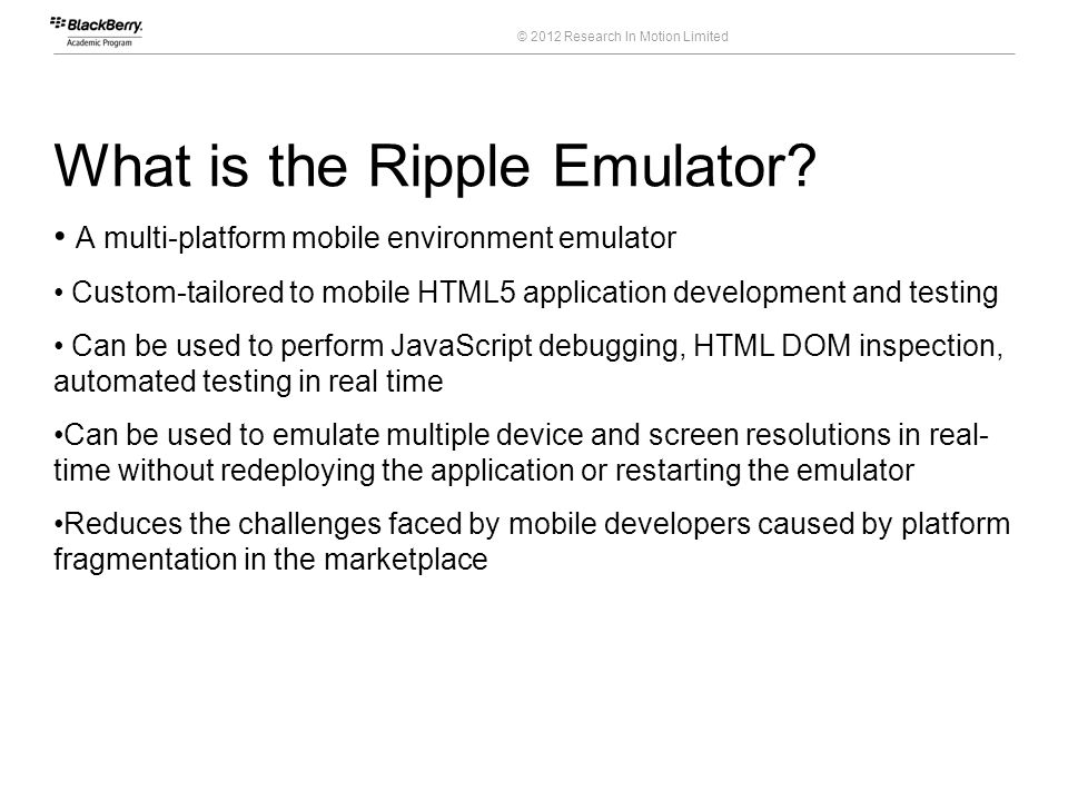 What is the Ripple Emulator