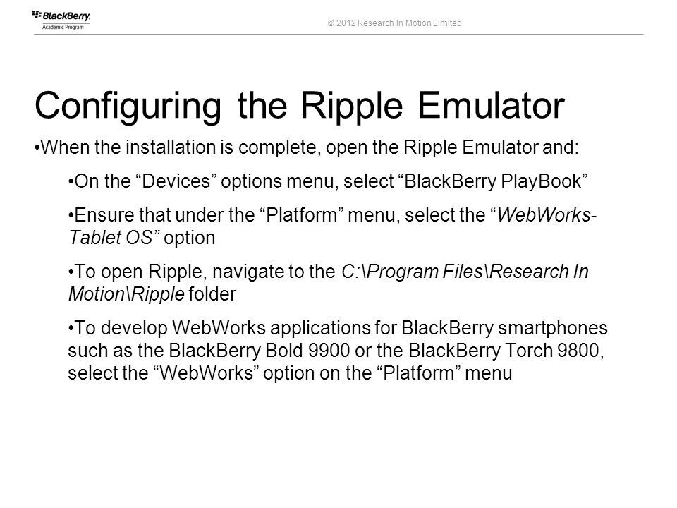 Configuring the Ripple Emulator
