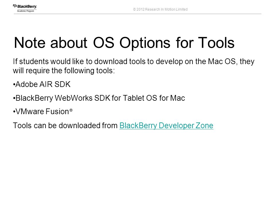 Note about OS Options for Tools