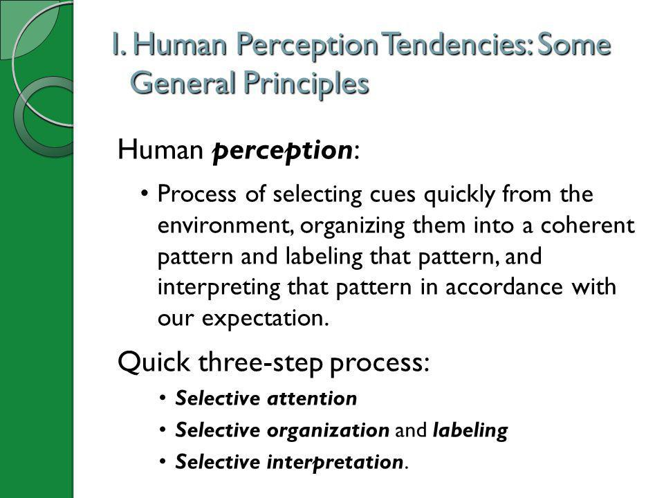 I. Human Perception Tendencies: Some General Principles