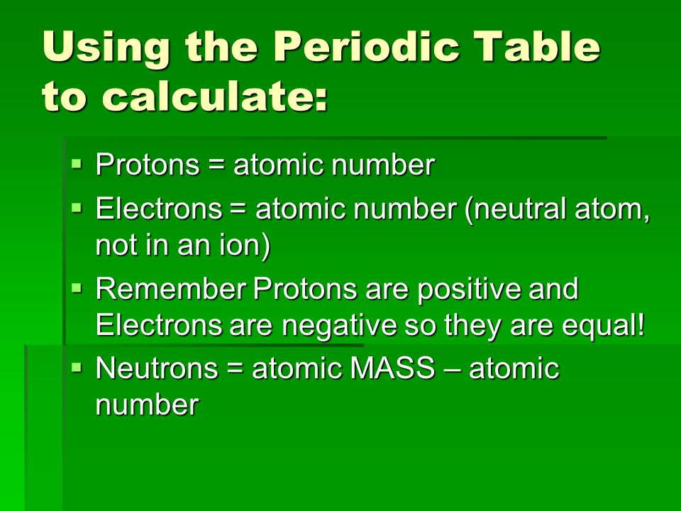 Using the Periodic Table to calculate: