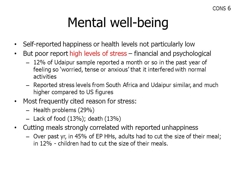 CONS 6 Mental well-being. Self-reported happiness or health levels not particularly low.