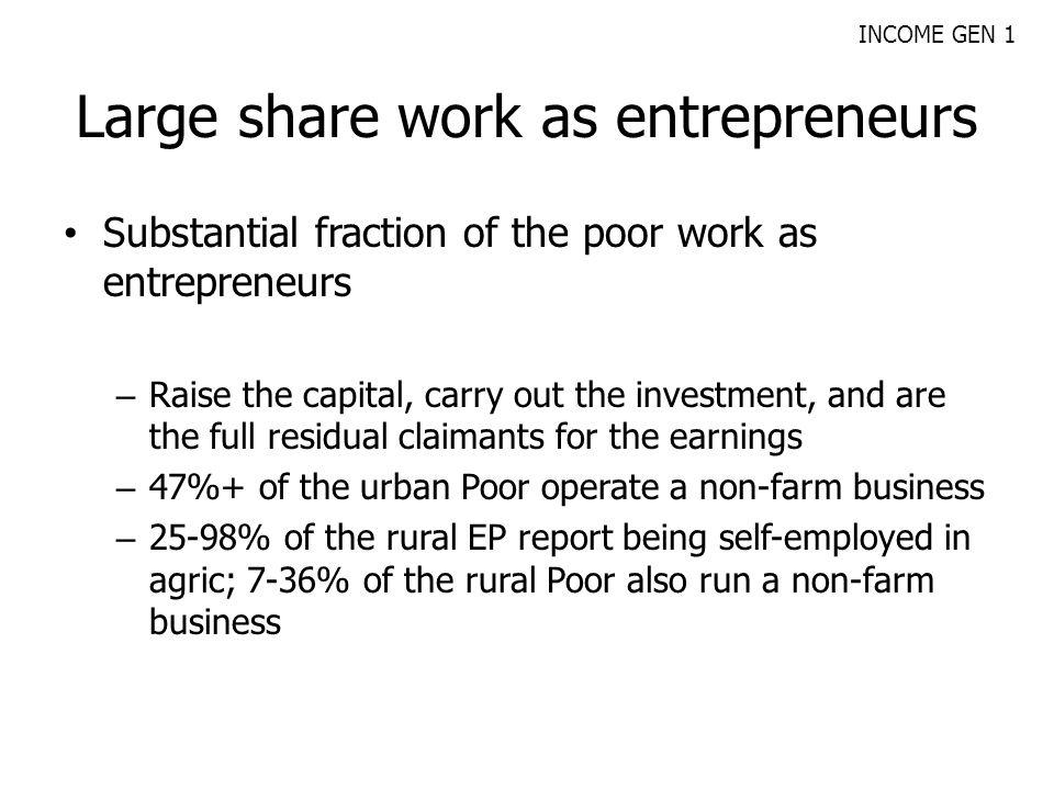 Large share work as entrepreneurs