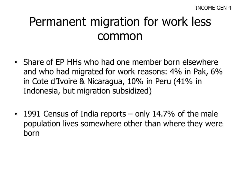 Permanent migration for work less common