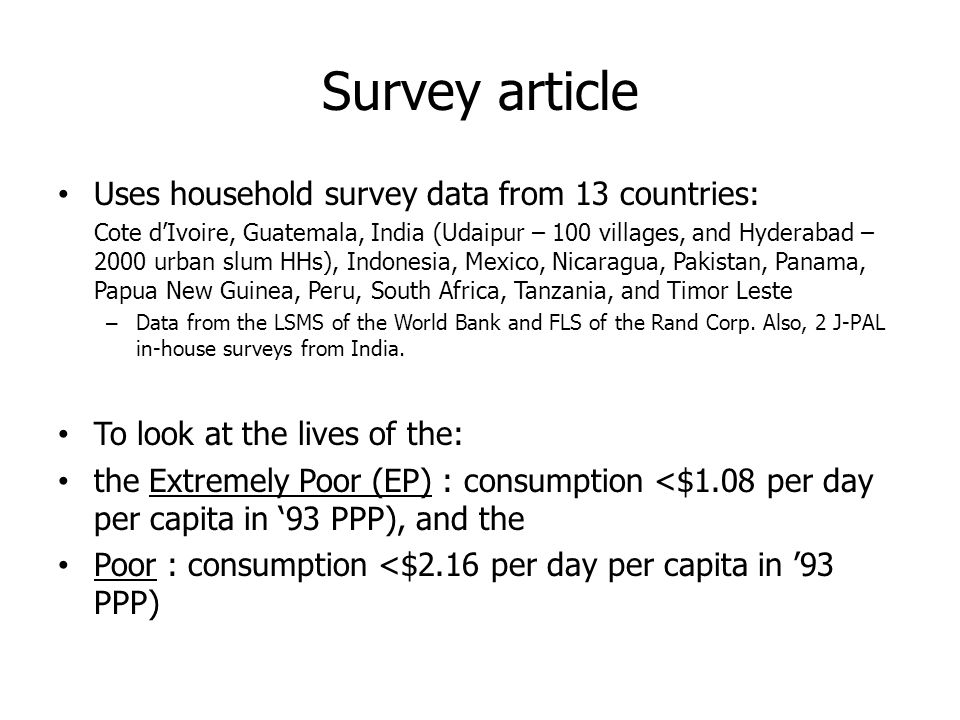 Survey article Uses household survey data from 13 countries: