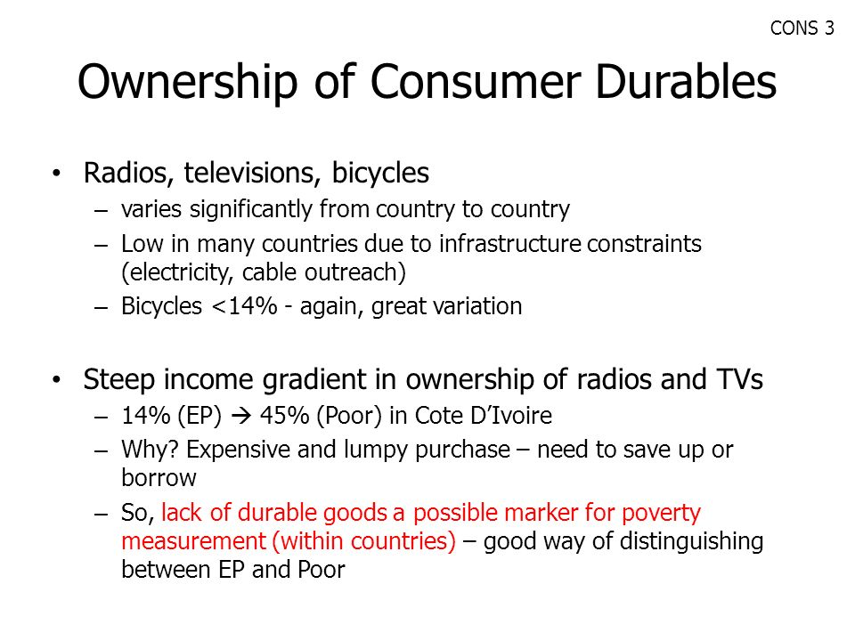 Ownership of Consumer Durables