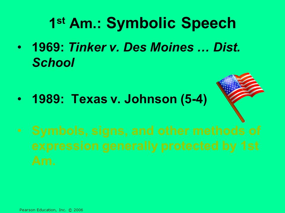1st Am.: Symbolic Speech 1969: Tinker v. Des Moines … Dist. School