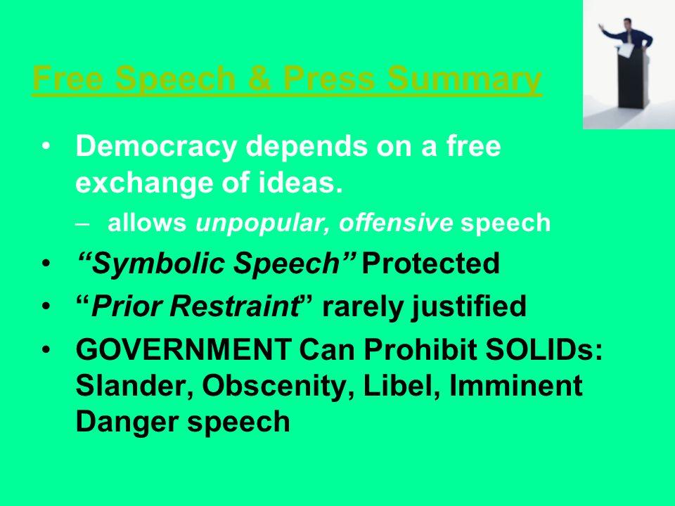 Free Speech & Press Summary