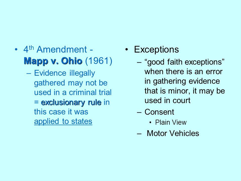 4th Amendment - Mapp v. Ohio (1961) Exceptions