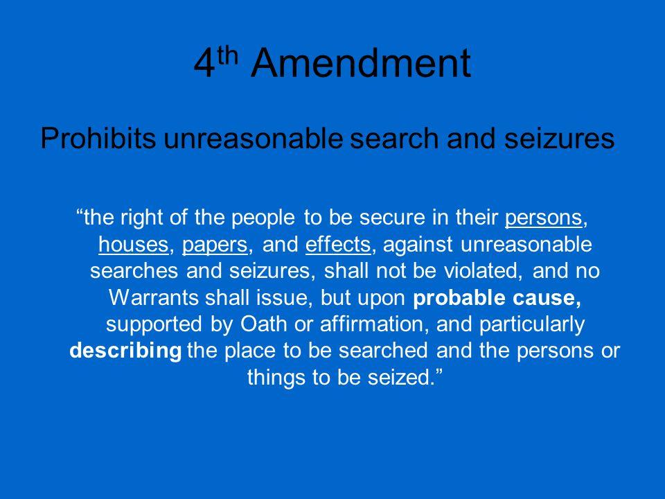 4th Amendment Prohibits unreasonable search and seizures