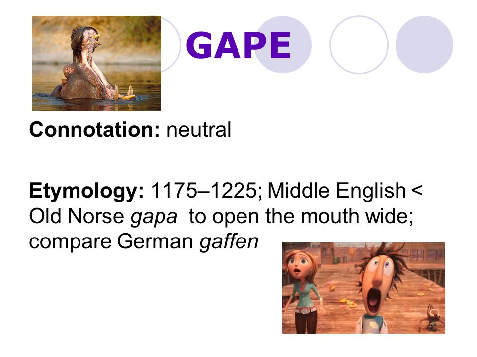 GAPE Connotation: neutral