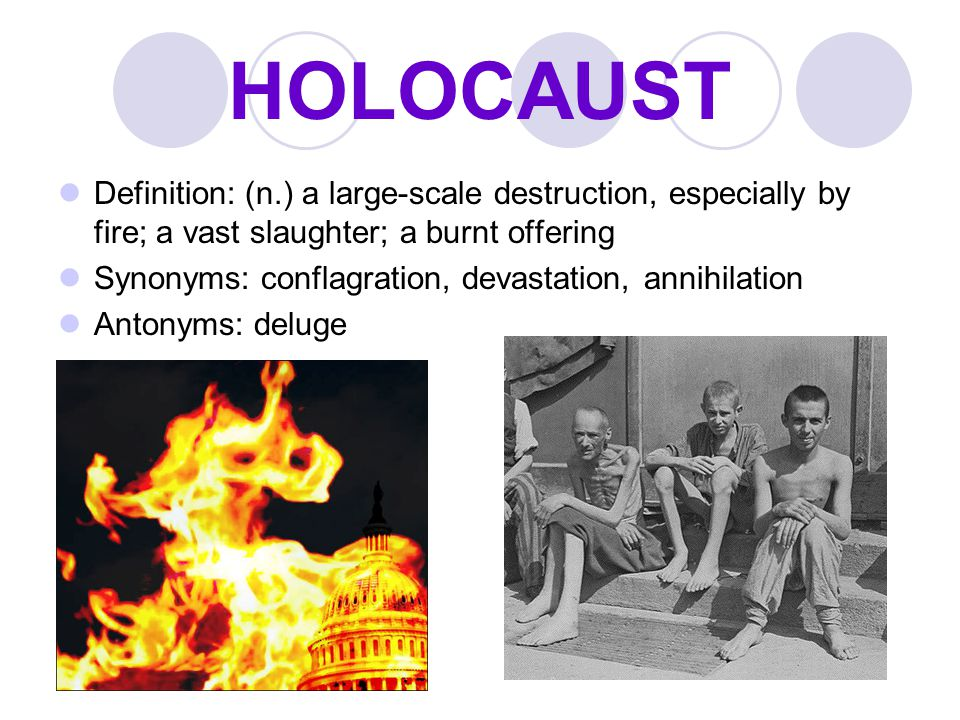 HOLOCAUST Definition: (n.) a large-scale destruction, especially by fire; a vast slaughter; a burnt offering.