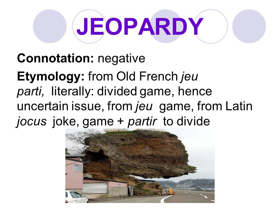 JEOPARDY Connotation: negative