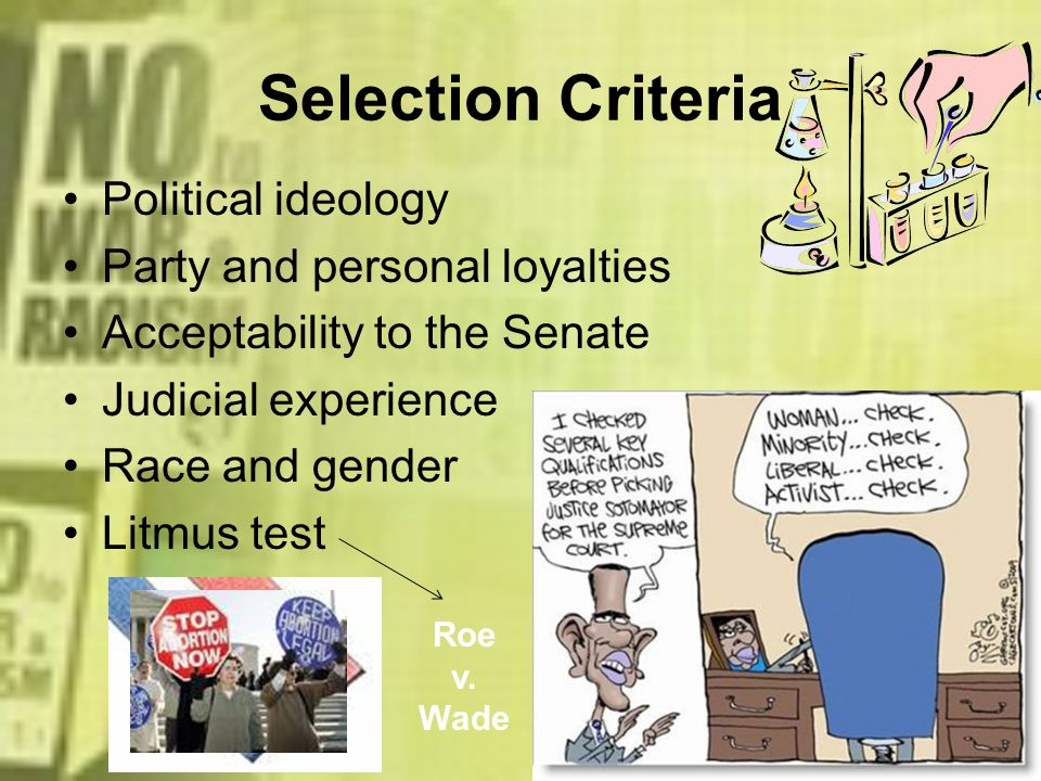 Selection Criteria Political ideology Party and personal loyalties