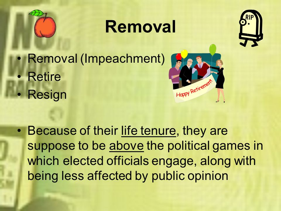 Removal Removal (Impeachment) Retire Resign