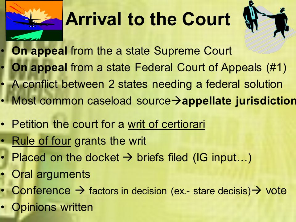 Arrival to the Court On appeal from the a state Supreme Court