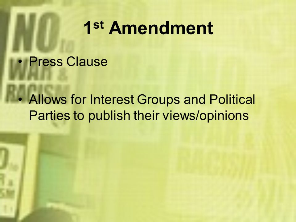 1st Amendment Press Clause
