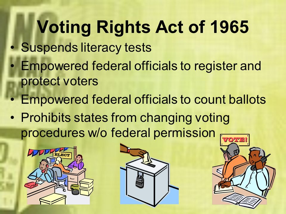 Voting Rights Act of 1965 Suspends literacy tests