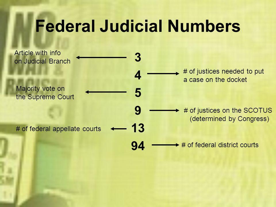 Federal Judicial Numbers