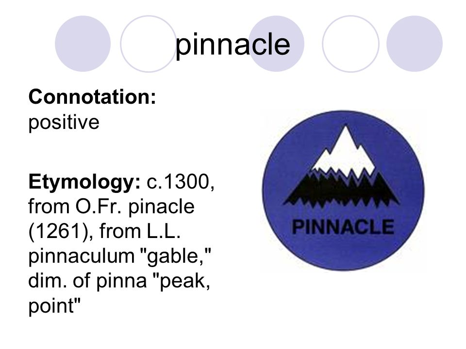 pinnacle Connotation: positive