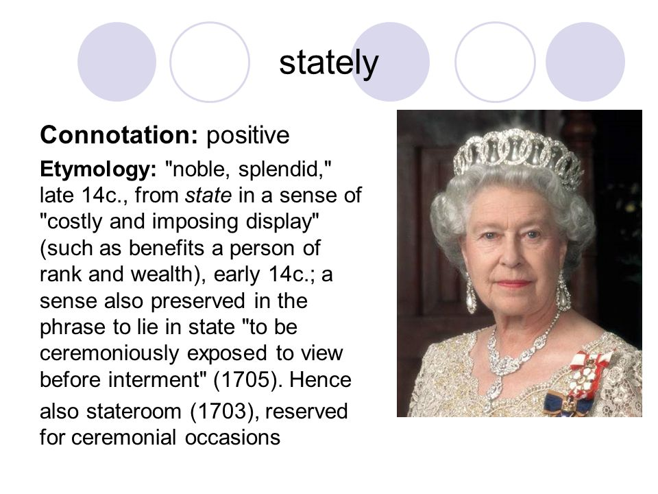 stately Connotation: positive