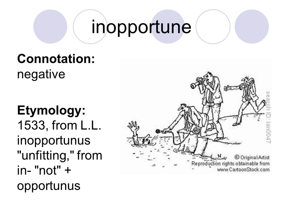 inopportune Connotation: negative