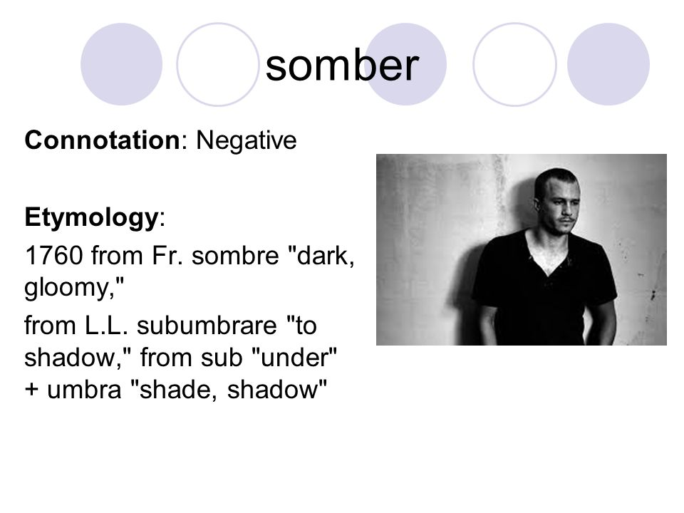 somber Connotation: Negative Etymology:
